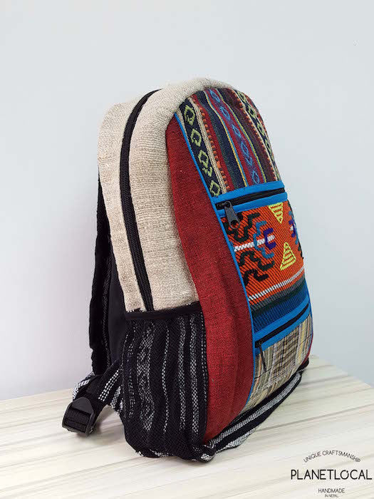 Jilimil-3 Handmade colourful organic cotton and hemp backpack - PLANETLOCAL (2)