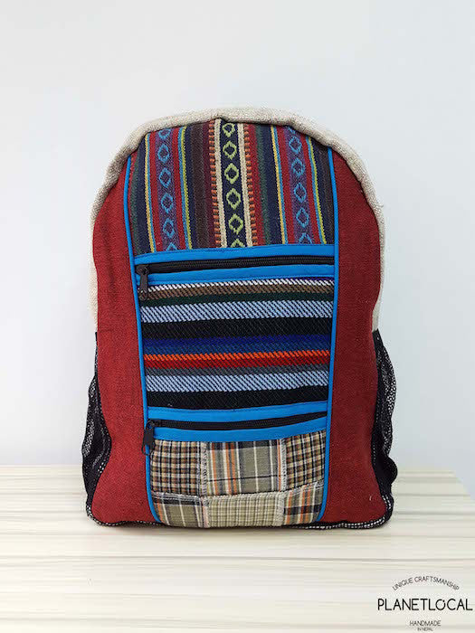 Jilimil-3 Handmade colourful organic cotton and hemp backpack - PLANETLOCAL