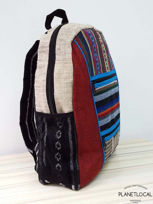 Jilimil-3 Handmade colourful organic cotton and hemp backpack - PLANETLOCAL (3)