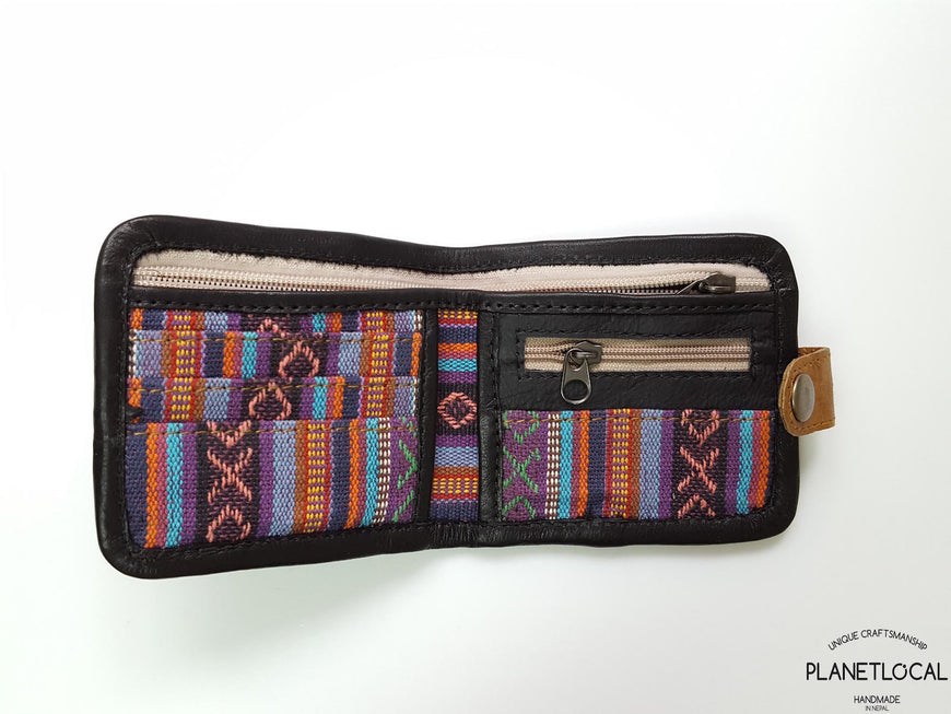 Pure Handmade Foldable Ethnic Cotton Fabric and Leather Wallet - PLANETLOCAL (2)