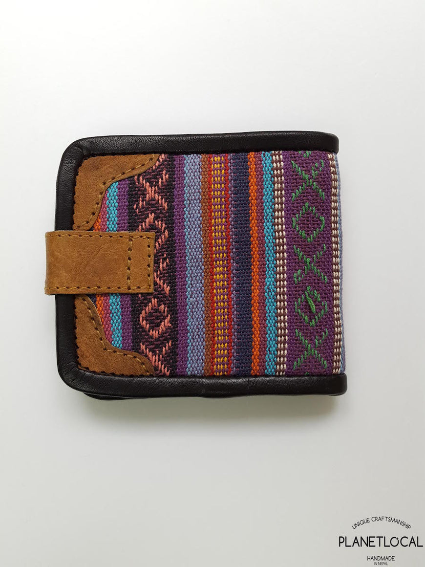 Pure Handmade Foldable Ethnic Cotton Fabric and Leather Wallet - PLANETLOCAL (1)