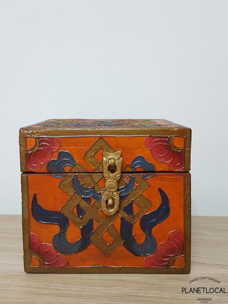 BOXEN1-Unique Handpainted Tibetan Art Wooden Box - PLANETLOCAL