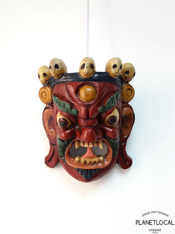 Unique Red Edition Handmade Wooden Bhairab Mahakala Mask - PLANETLOCAL