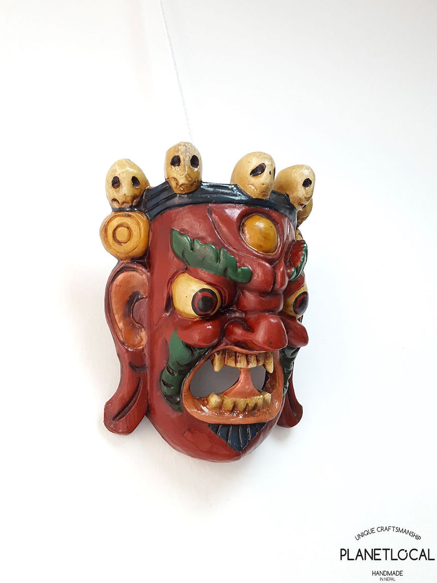 Unique Red Edition Handmade Wooden Bhairab Mahakala Mask - PLANETLOCAL (1)