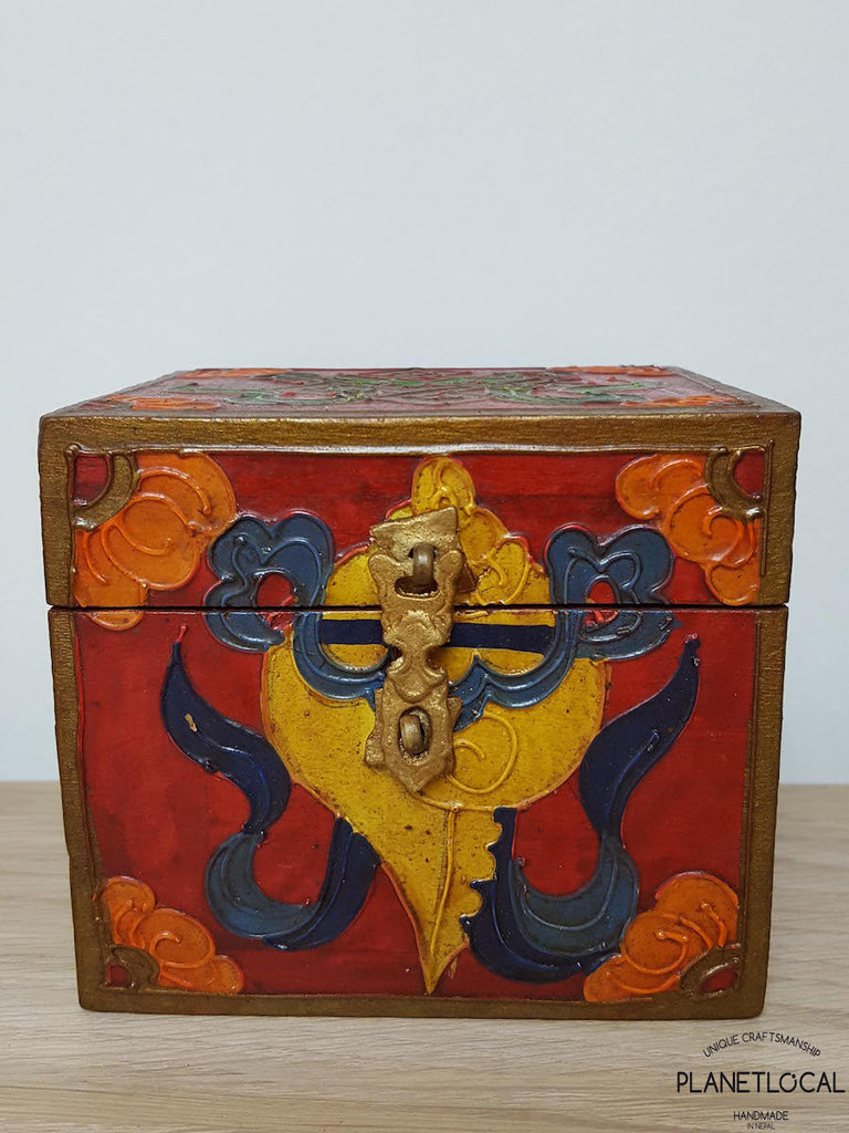 BOXEN2-Unique Handpainted Tibetan Art Wooden Box - PLANETLOCAL