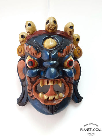 Unique Blue/White edition Handmade Wooden Bhairab Mahakala Mask - PLANETLOCAL