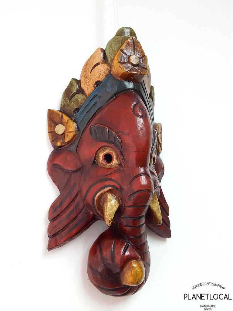 Red Edition Handmade Wooden Ganesh Mask