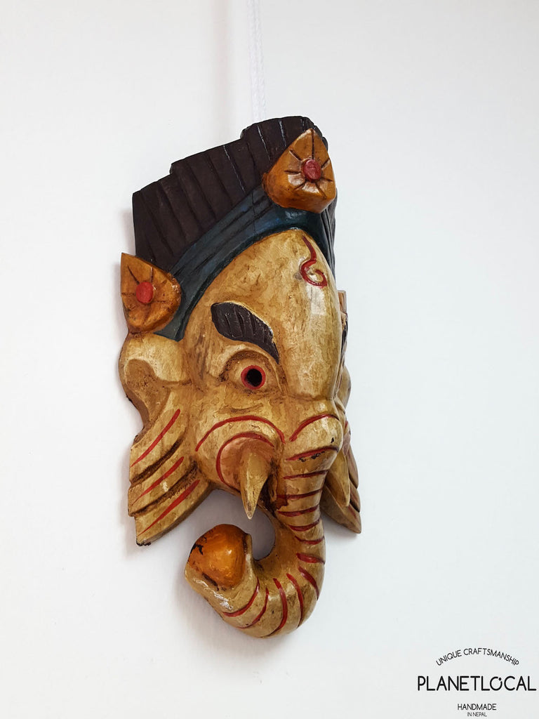 Yellow Edition Handmade Wooden Ganesh Mask - PLANETLOCAL