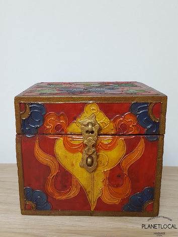 BOXEN4-Unique Handpainted Tibetan Art Wooden Box - PLANETLOCAL