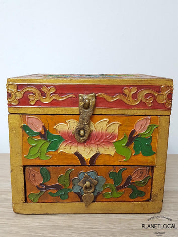 BOXEN5-Unique Handpainted Tibetan Art Wooden Box - PLANETLOCAL