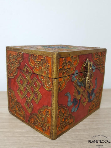 BOXEN7-Unique Handpainted Tibetan Art Wooden Box - PLANETLOCAL