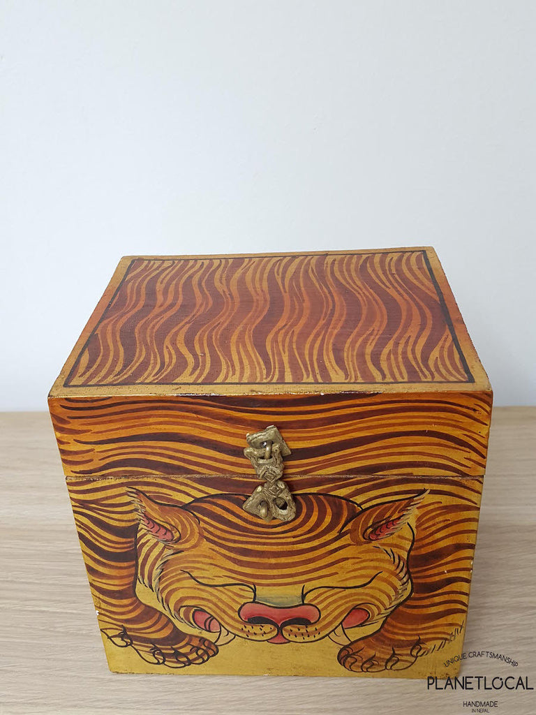BOXEN8-Unique Handpainted Tibetan Art Wooden Box - PLANETLOCAL