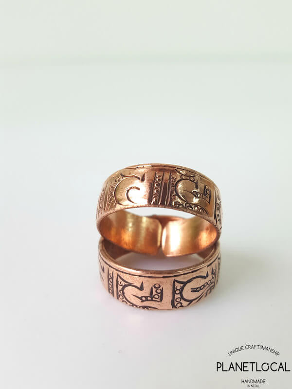 Open Handcarved Pure Red Copper Rings