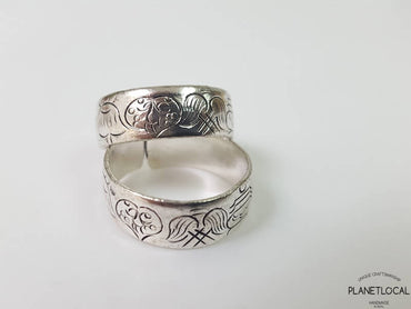 Open Format Handcarved White Metal Ring
