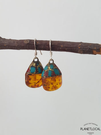 Unique Pressed Amber Handmade Earrings with silver hook