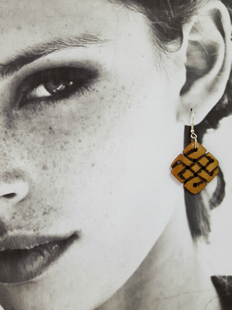Endless Knot Handmade Bone Earrings