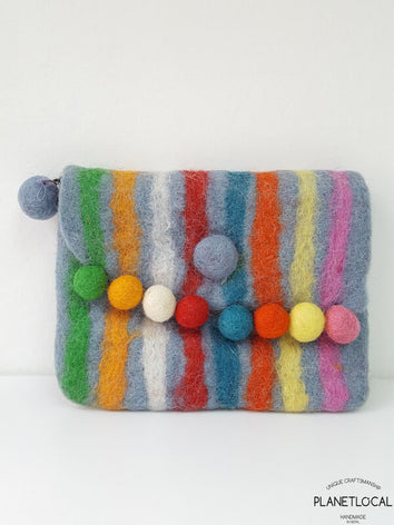 Handmade Colourful Striped Felt Bags