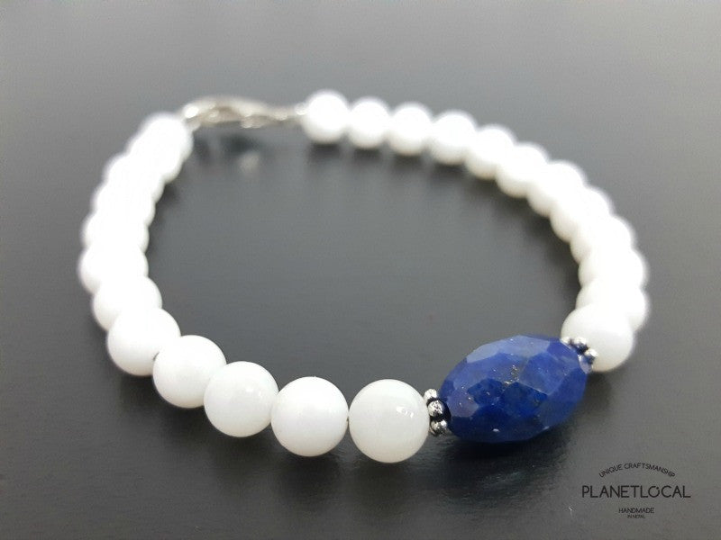 Special Edition Lapis Lazuli with Shell/Luster Natural Pearl Bracelet (7)