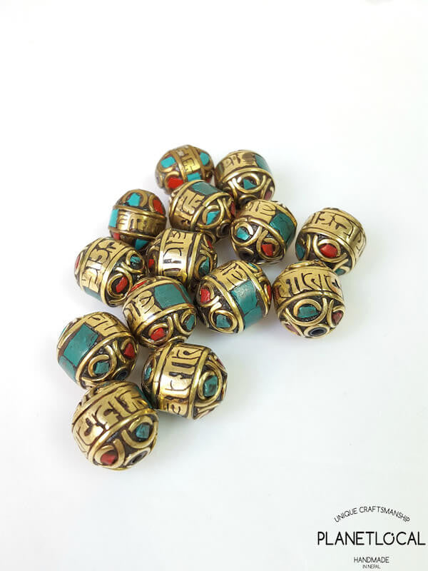 3pc Assorted Tibetan Brass Beads DIY Craft Supplies No.1