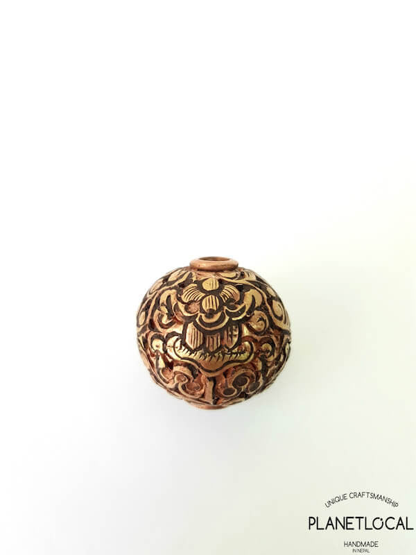 COPPER- 1pc 16mm Tibetan Hand Carved Beads (5)