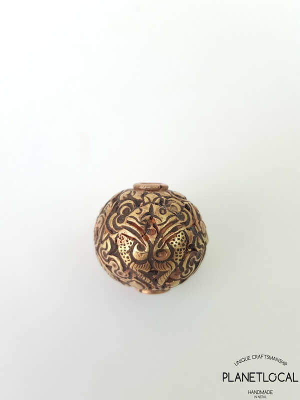 COPPER- 1pc 16mm Tibetan Hand Carved Beads (6)