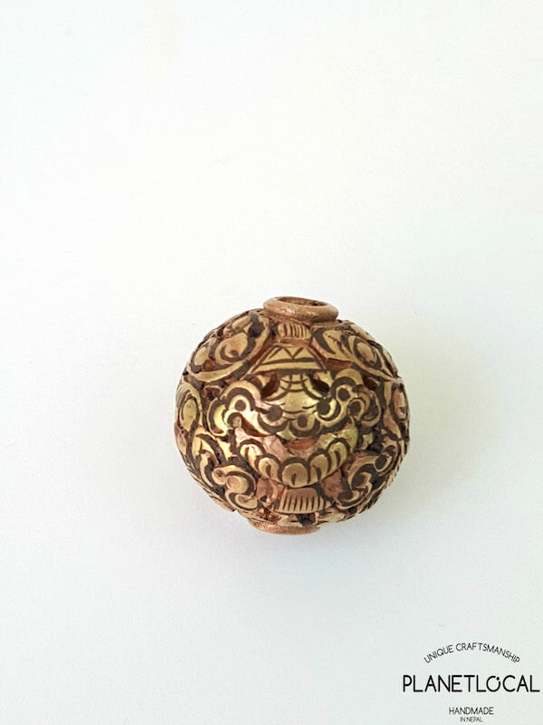 COPPER- 1pc 16mm Tibetan Hand Carved Beads (7)