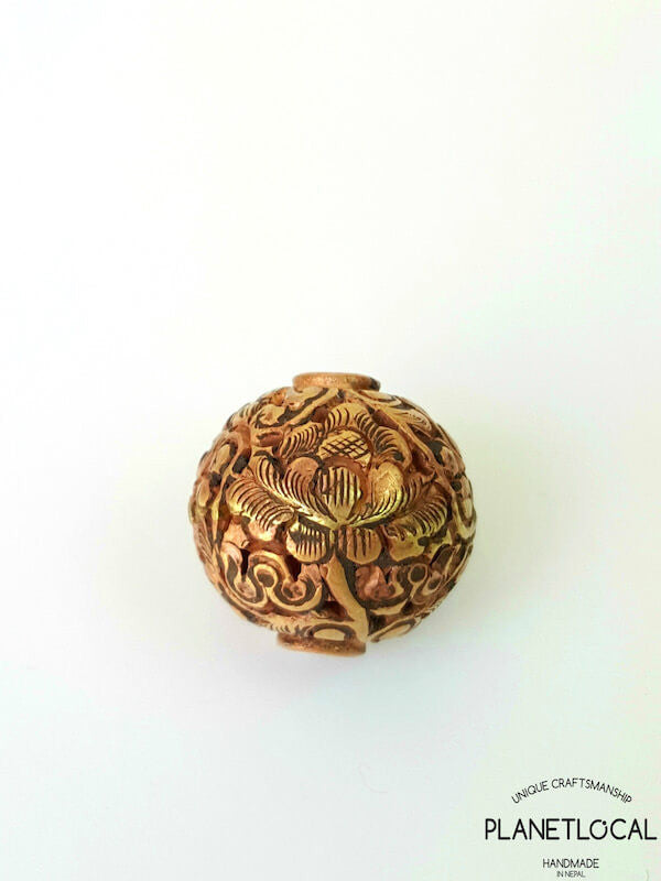 COPPER- 1pc 16mm Tibetan Hand Carved Beads (8)