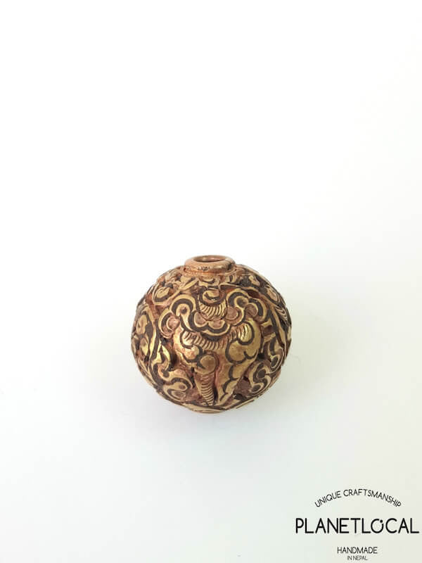 COPPER- 1pc 16mm Tibetan Hand Carved Beads