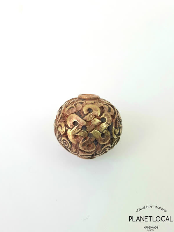 COPPER- 1pc 16mm Tibetan Hand Carved Beads (2)