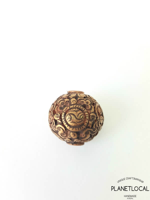 COPPER- 1pc 16mm Tibetan Hand Carved Beads (4)