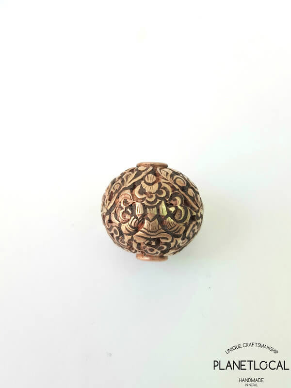 COPPER- 1pc 16mm Tibetan Hand Carved Beads (3)