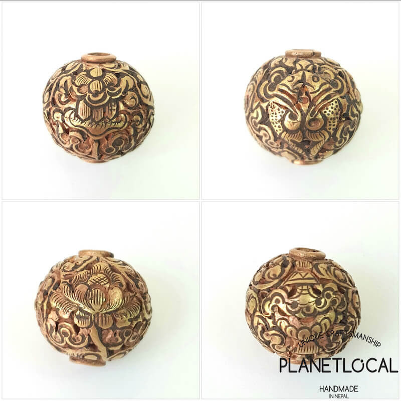 COPPER- 1pc 16mm Tibetan Hand Carved Beads (10)