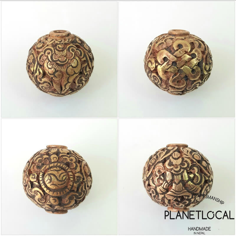 COPPER- 1pc 16mm Tibetan Hand Carved Beads (9)