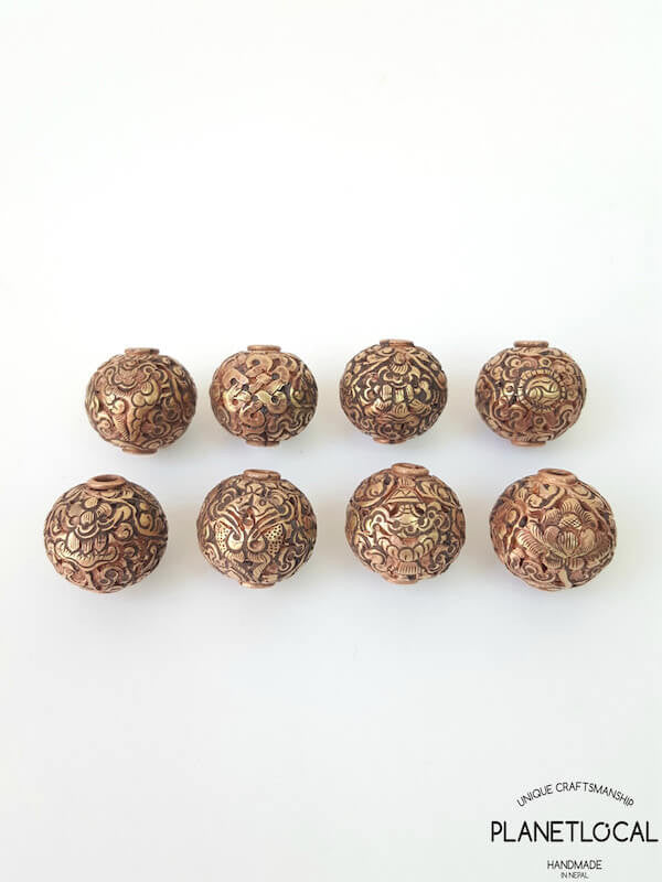 COPPER- 1pc 16mm Tibetan Hand Carved Beads (1)