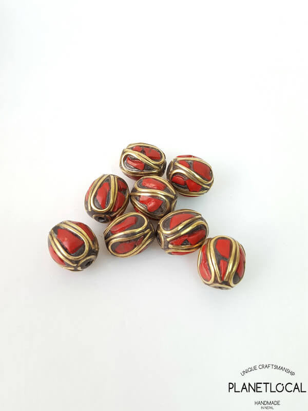 COLORS- 5pc Assorted Tibetan Brass Beads DIY Craft Supplies No.05 (1)