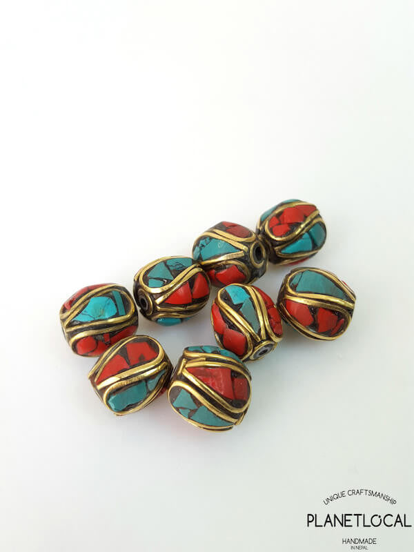 COLORS- 5pc Assorted Tibetan Brass Beads DIY Craft Supplies No.05