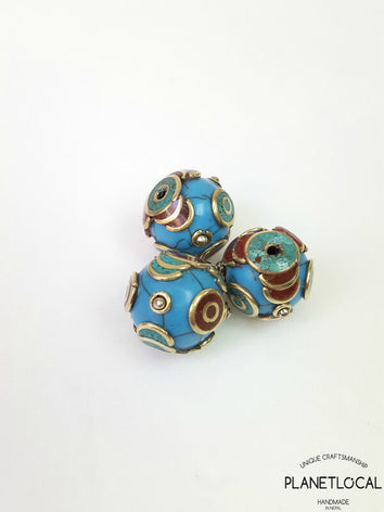 GLOBE- 3pc Assorted Tibetan Brass Beads DIY Craft Supplies No.07