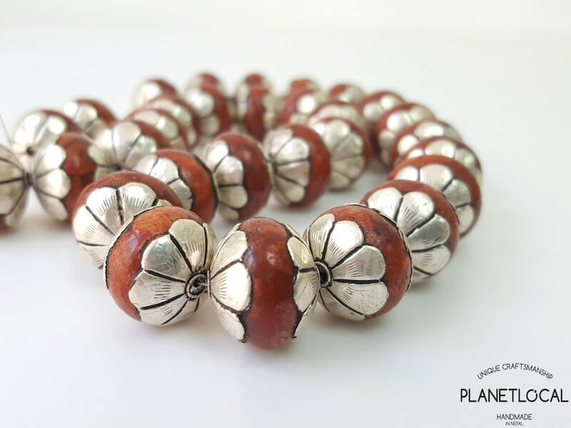 COPPER- 2pc Maroon 16mm Tibetan Resin Beads