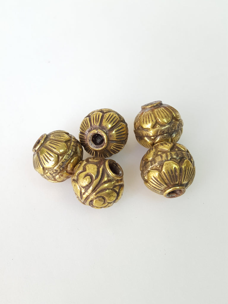 5pc Assorted Tibetan Brass Beads Craft Supplies No.1