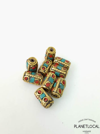 ROLLS- 5pc Assorted Tibetan Brass Beads DIY Craft Supplies No.12