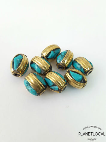 SPIN- 5pc Assorted Tibetan Brass Beads DIY Craft Supplies No.16