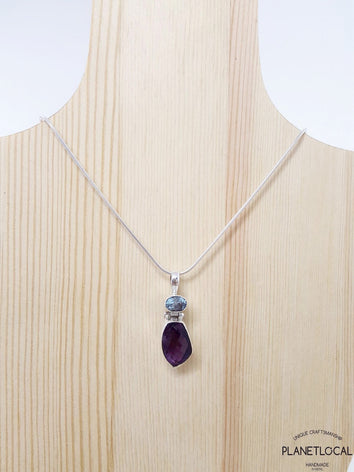 FORMS - Aquamarine and Amethyst Handmade 925 Sterling Silver Pendant
