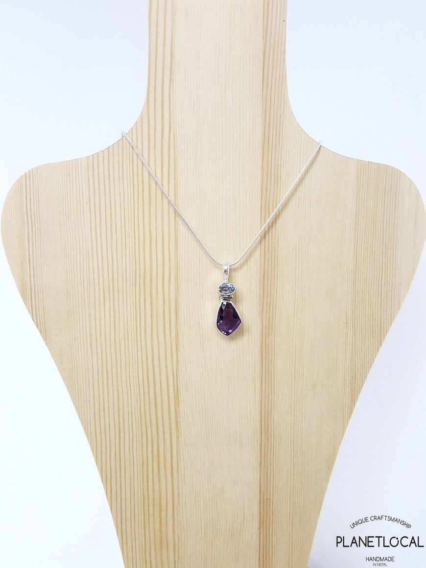 FORMS - Aquamarine and Amethyst Handmade 925 Sterling Silver Pendant (3)