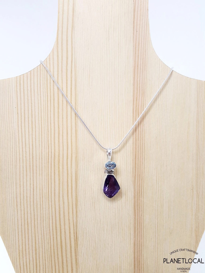 FORMS - Aquamarine and Amethyst Handmade 925 Sterling Silver Pendant (2)
