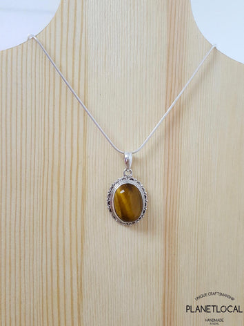 Oval- Handmade 925 Sterling Silver Pendant - PLANETLOCAL