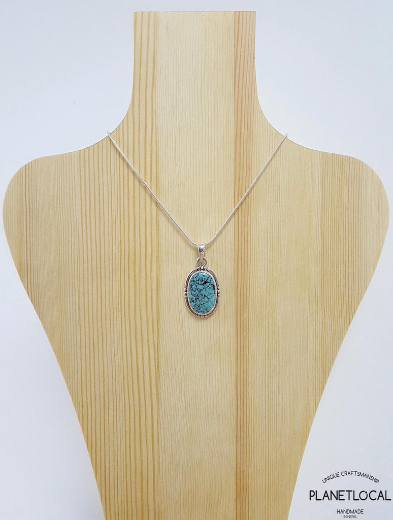 Oval Turquoise - Handmade 925 Sterling Silver Pendant