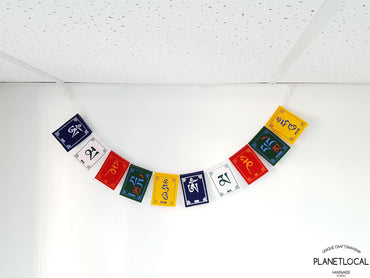 COMPASSION- Small Colourful Handmade Nepalese Cotton Flags - PLANETLOCAL