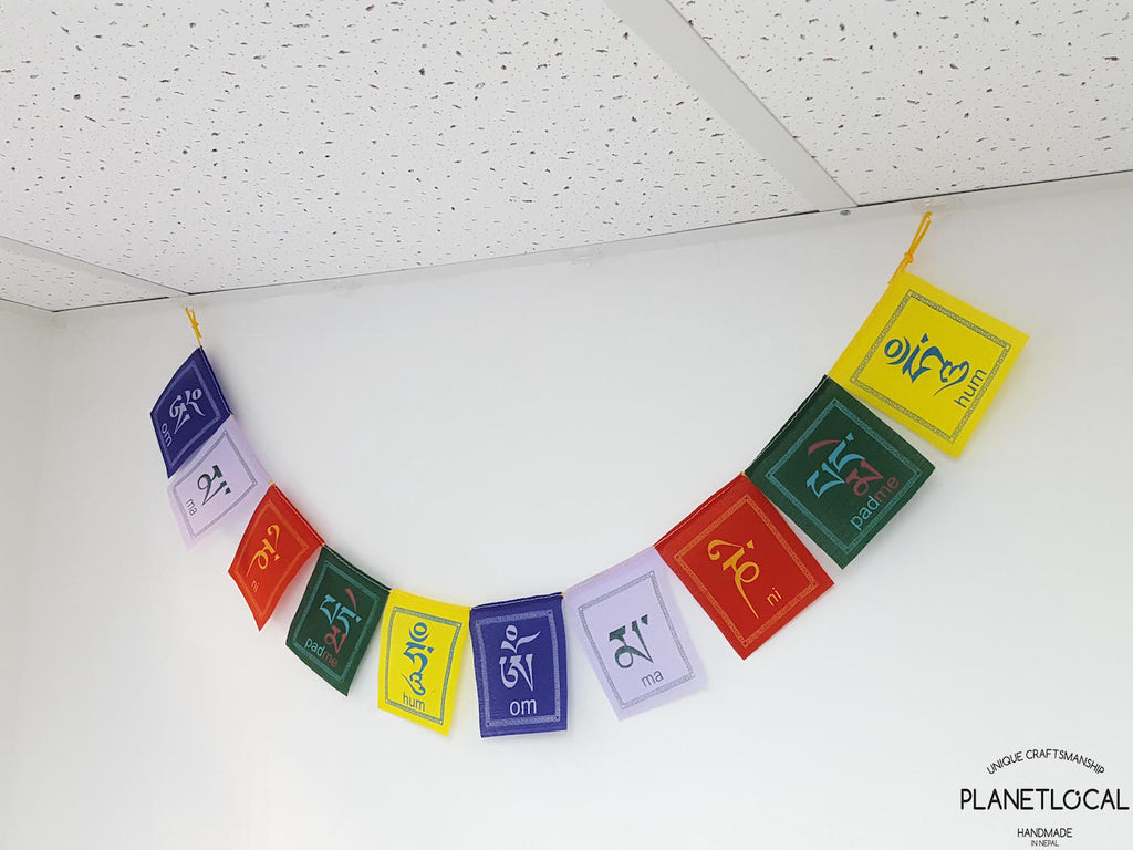 COMPASSION- Large Colourful Handmade Nepalese Cotton Flags - PLANETLOCAL