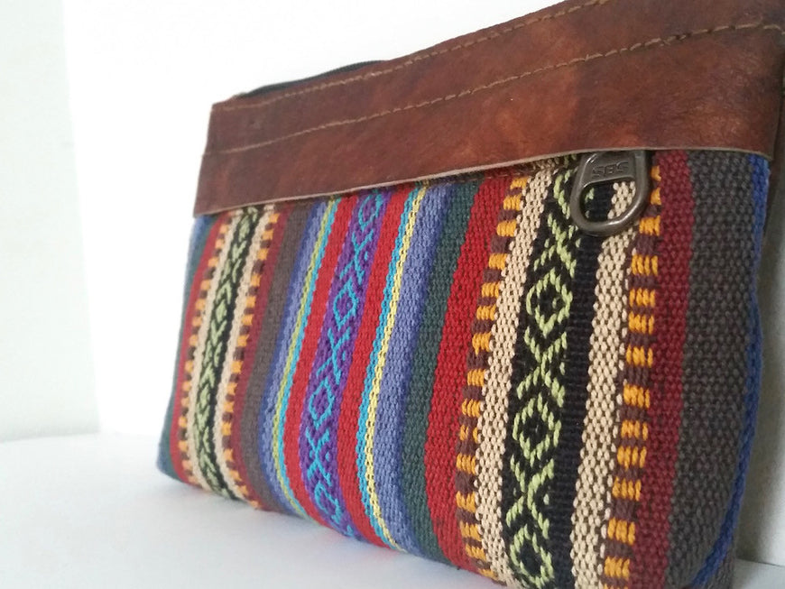 Pure Handmade Ethnic clutch bag made with cotton fabric and Leather handbag - PLANETLOCAL (3)