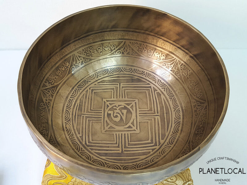 20cm Compassion Mantra & Mandala Etched Singing Bowl